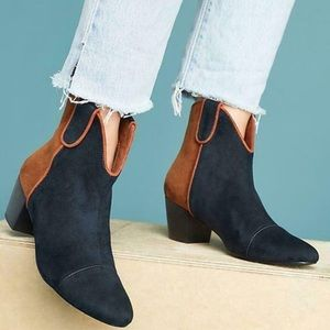 Anthropology Colorblock Western Booties 39/8.5